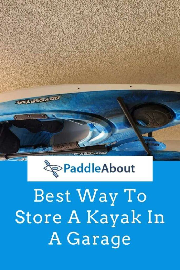 Best way to store a kayak in a garage - Kayak suspended from the ceiling