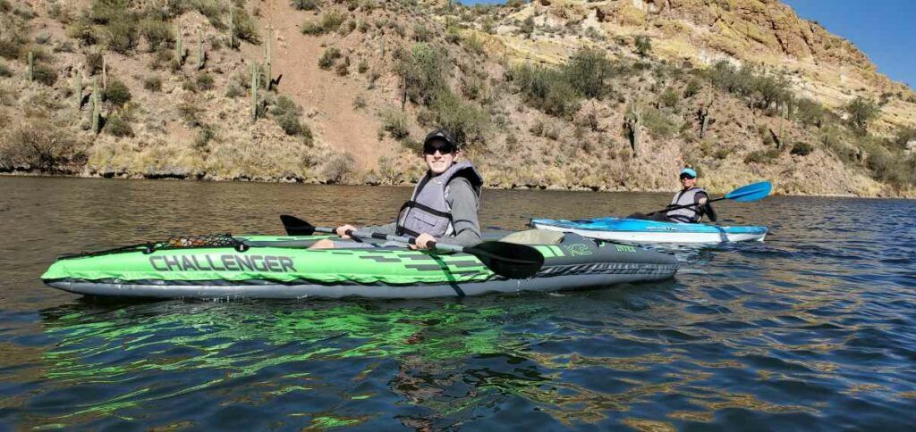 Intex Challenger K2 - paddling on a calm lake