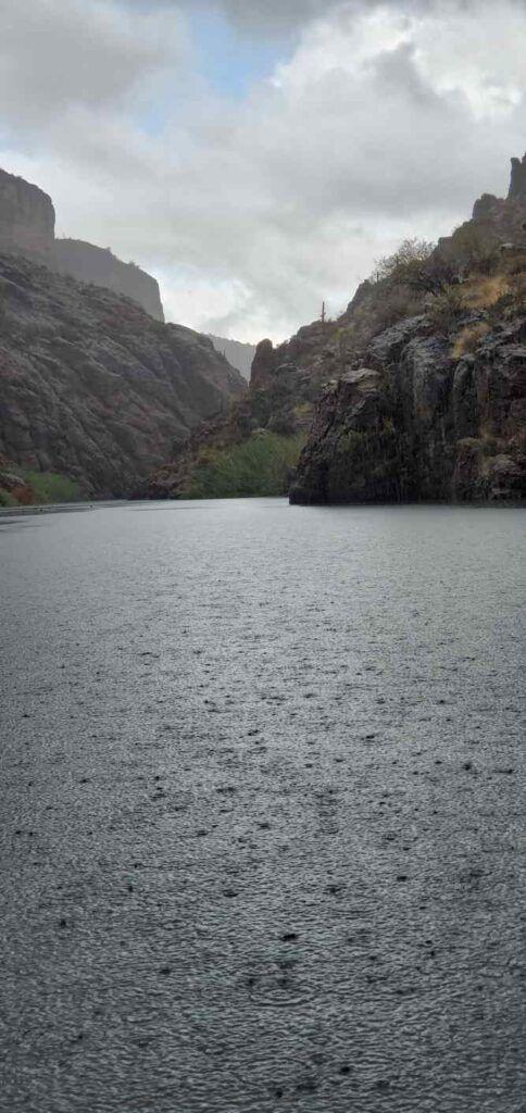 Kayaking in the rain - Rain falling on Canyon Lake