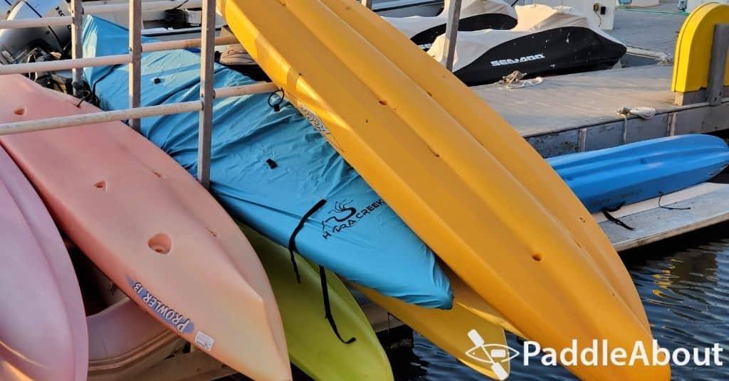 kayak hulls - Kayaks in a marina