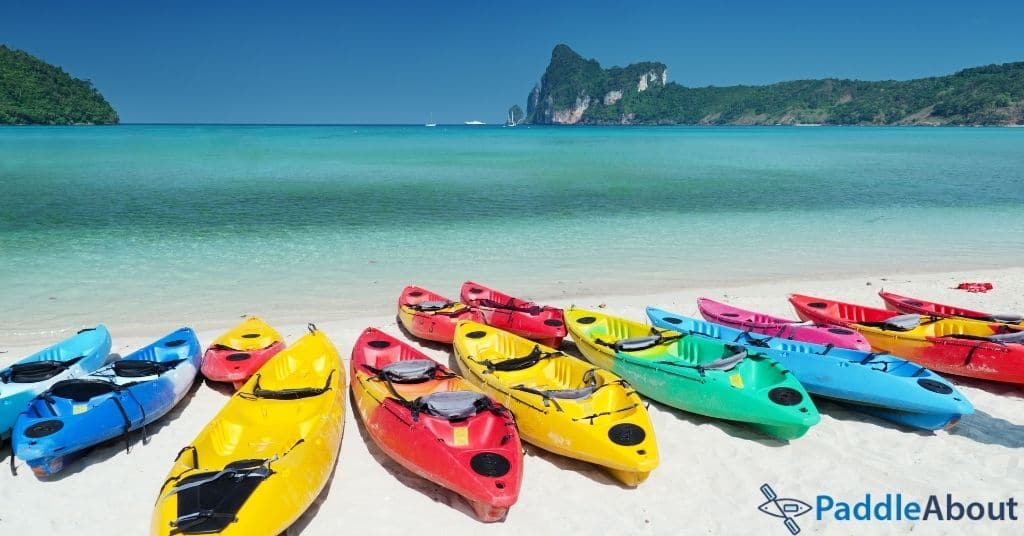 Kayak brands - Many different kayaks on the beach