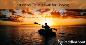 sit on vs sit in kayak for fishing - Person fishing from a kayak at dusk