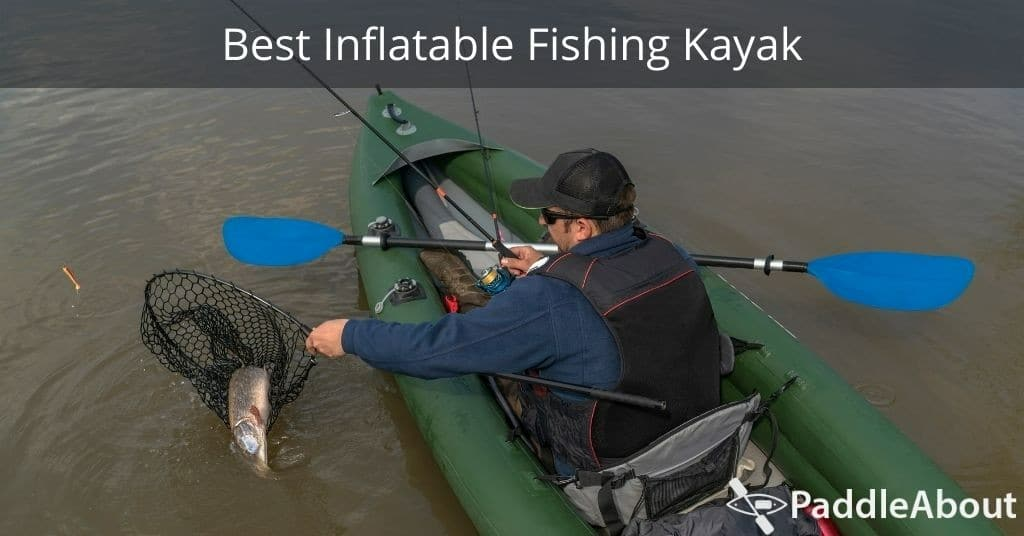 Best Inflatable Fishing Kayak - Man catching a fish in an inflatable kayak