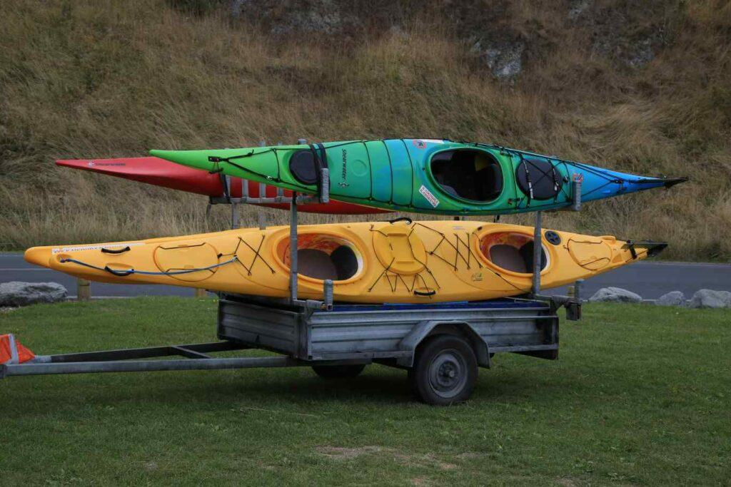 Kayak trailer - Kayaks loaded on a trailer