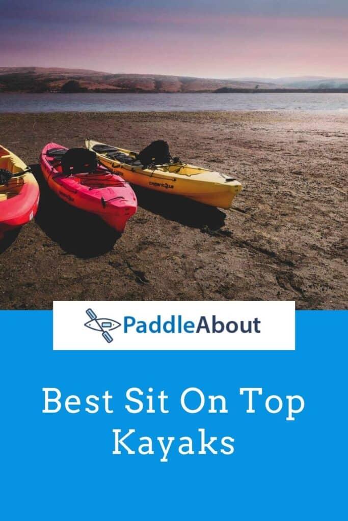 Best sit on top kayaks - three kayaks sitting on a beach