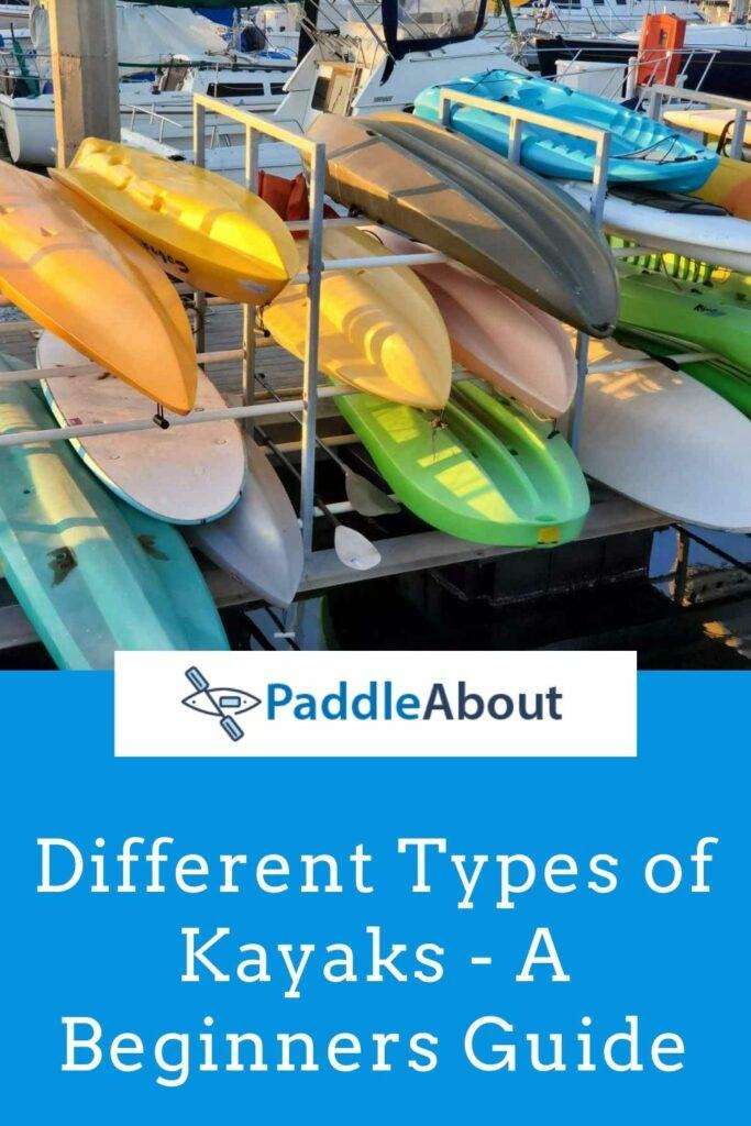 Different types of kayaks - kayaks stacked on a rack